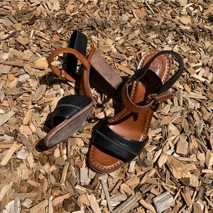 Frye Portia Black Brown Ankle Strap geek Sandals